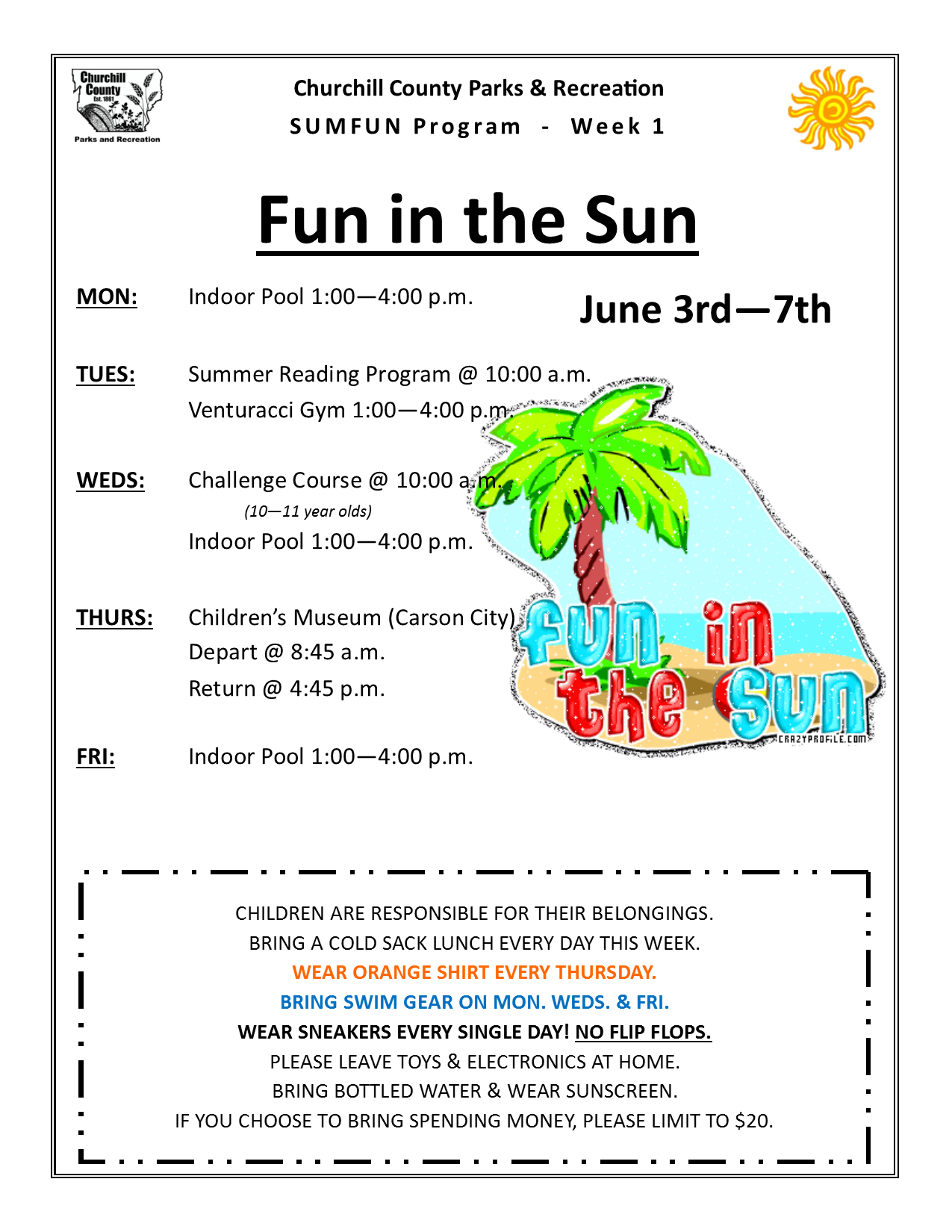 SUMFUN 2019 Flyer for Week 1