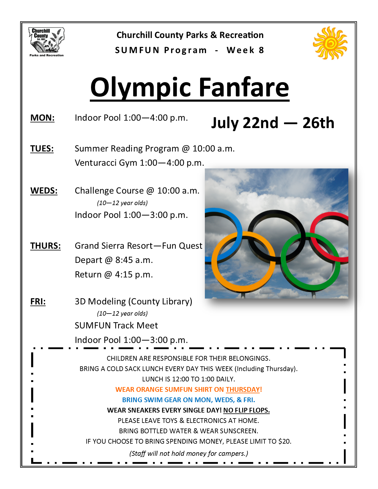 SUMFUN 2019 Flyer for Week 8