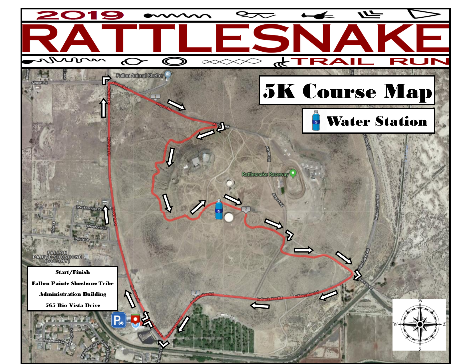 Rattlesnake Trail Run (2019) - 5K Course Map