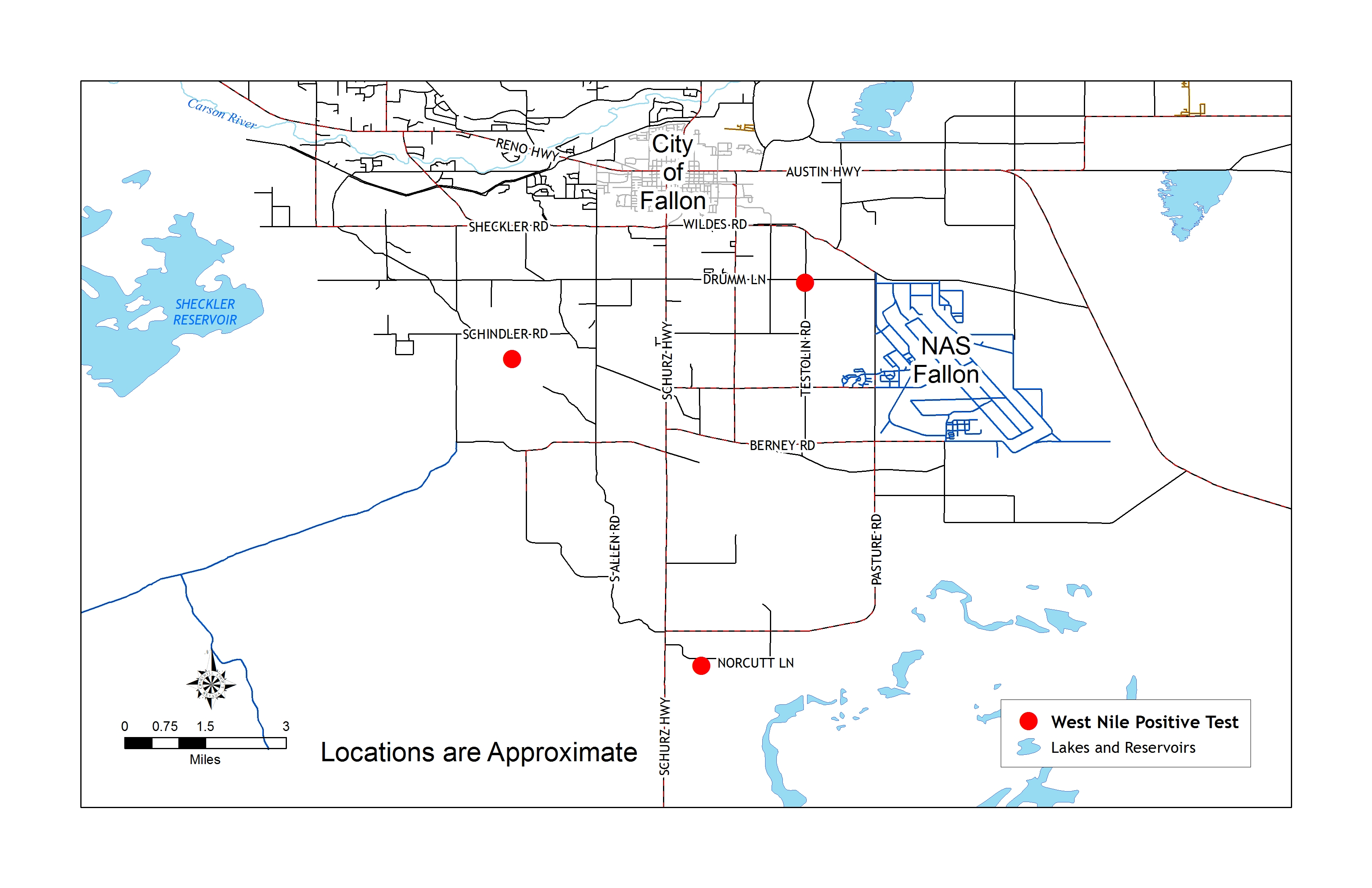 West Nile virus location map for Churchill County