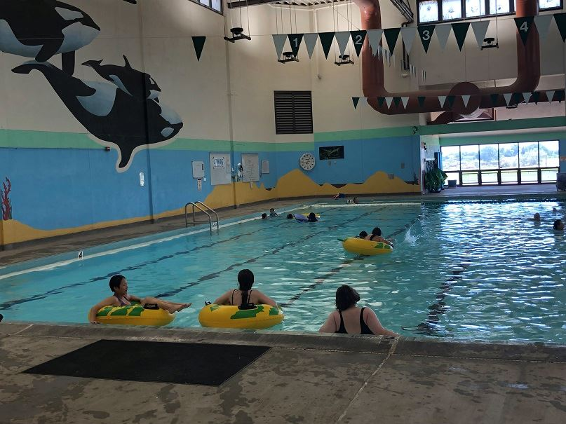 Kids play in the county indoor pool