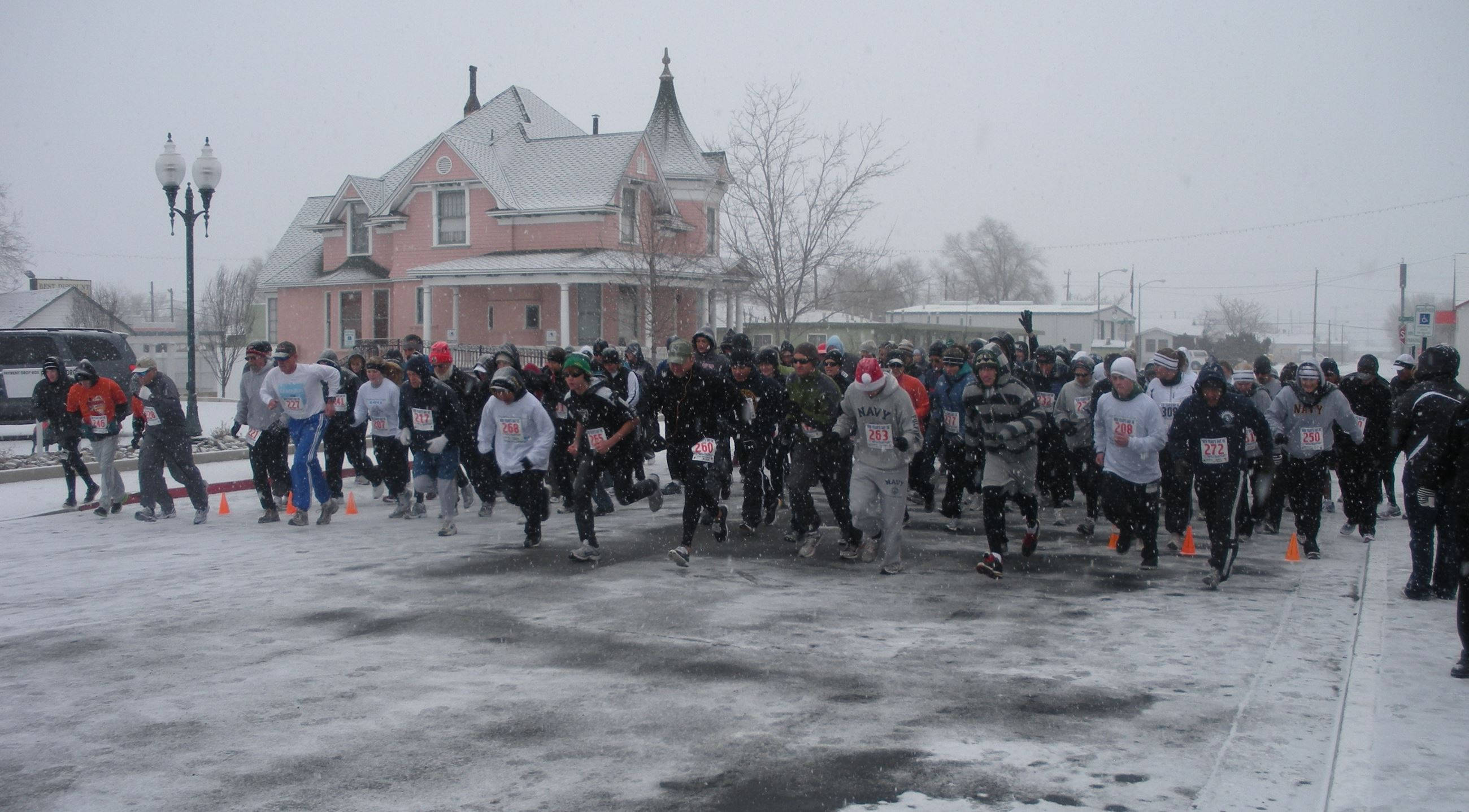Race start on a snowy day