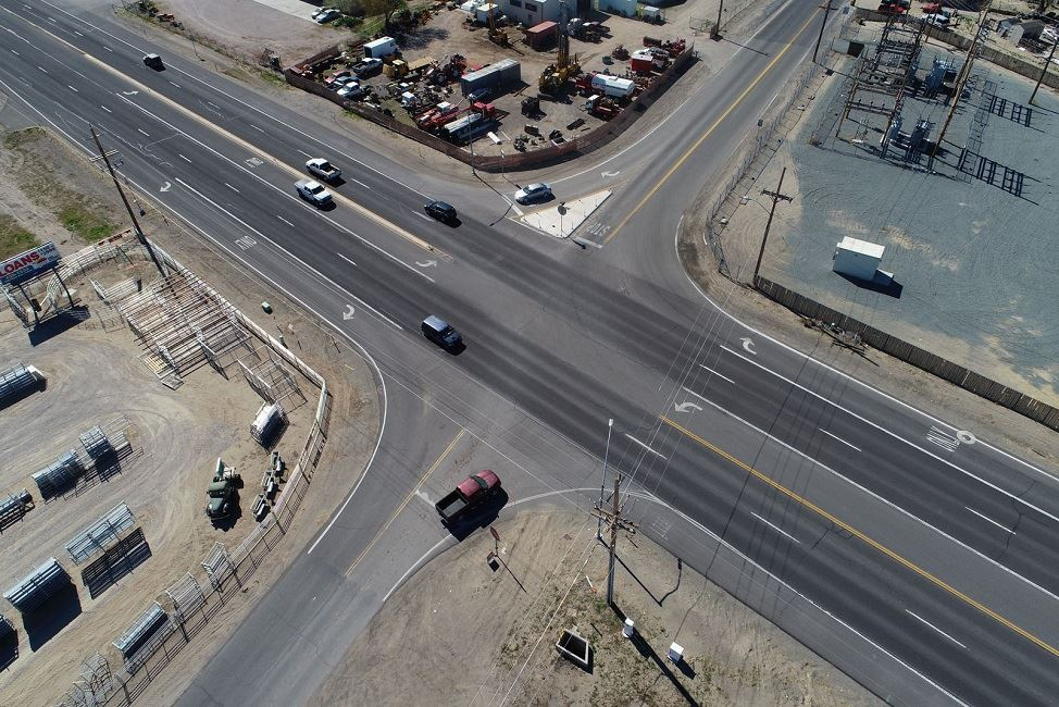 Aerial photo of Sheckler and Highway 50 intersection in Churchill County