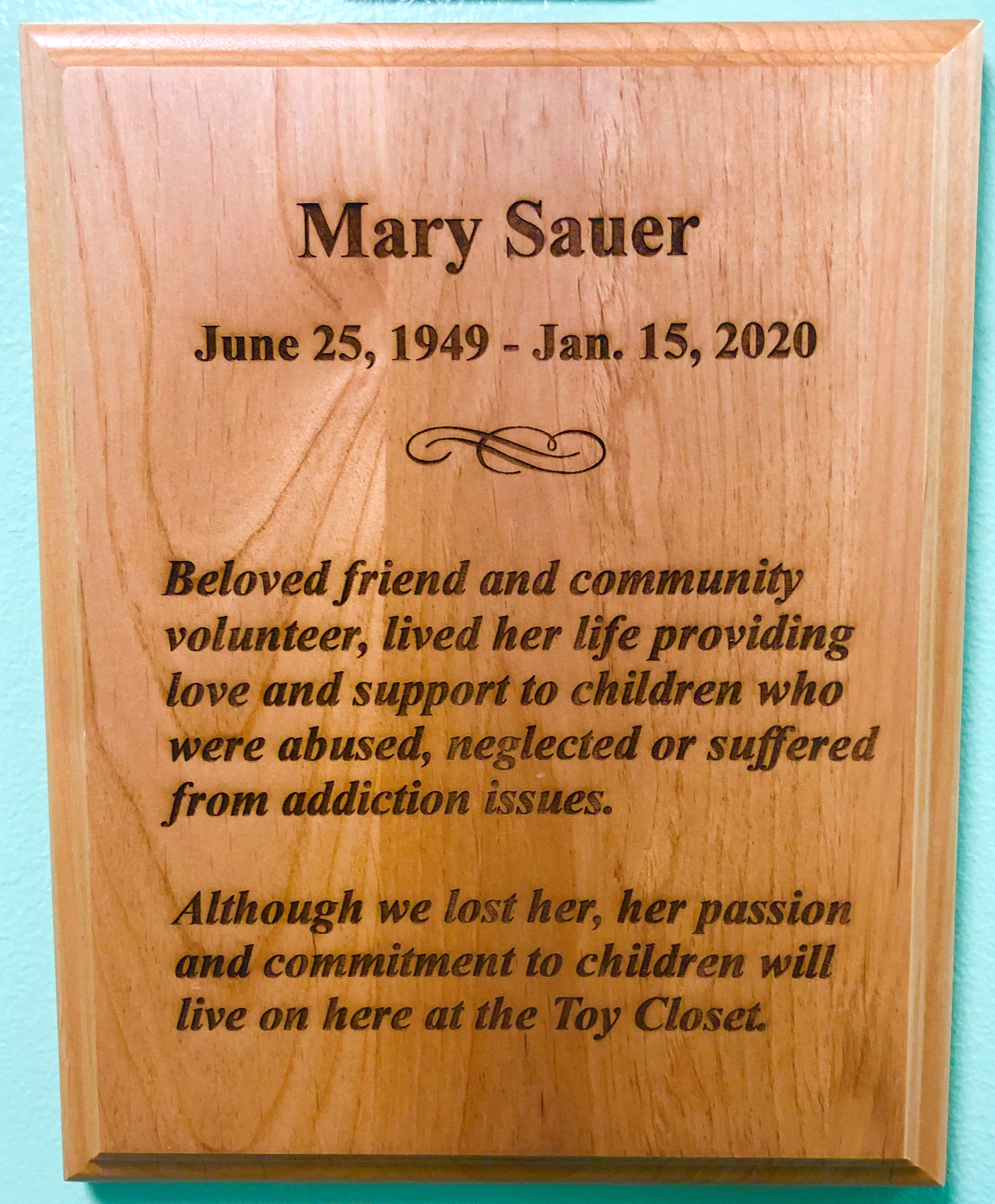 Mary Sauer Plaque
