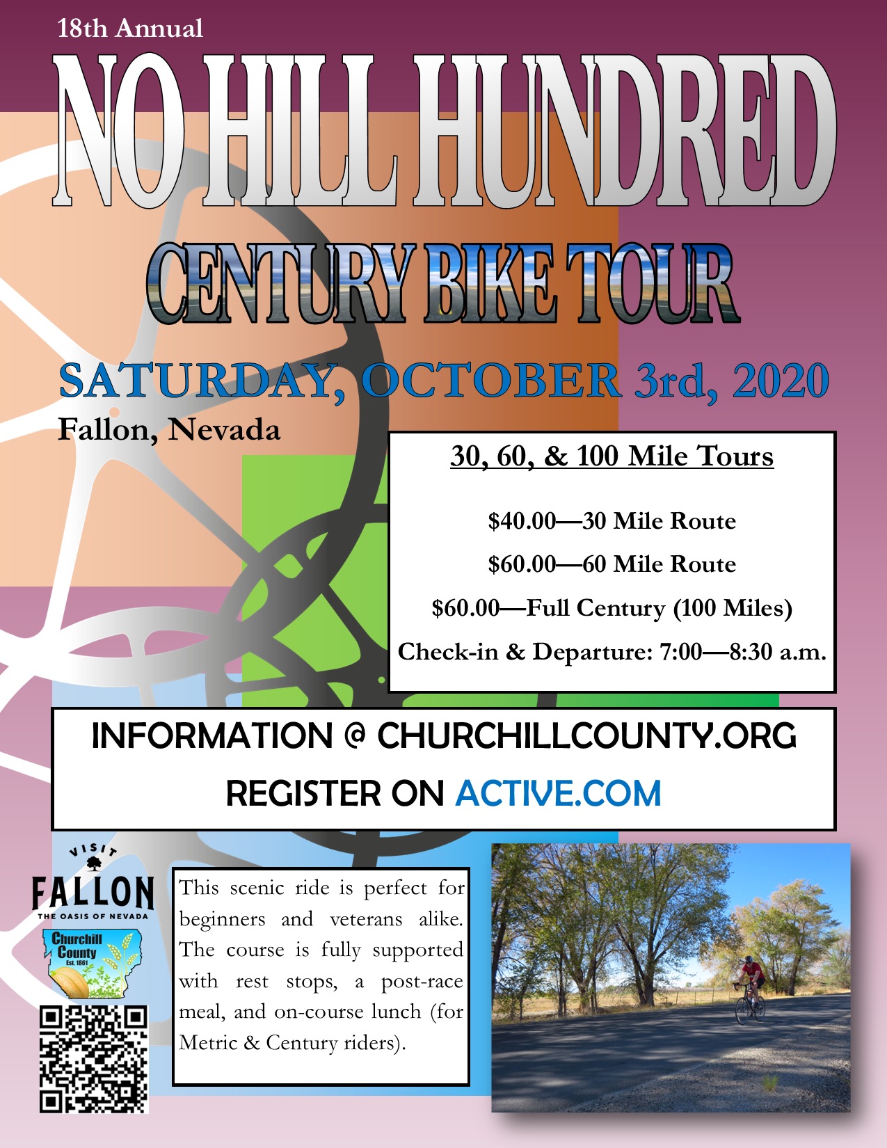 No Hill Hundred Century Bike Tour (2020) Flyer, Saturday, October 3rd.  30, 60, and 100 mile routes.