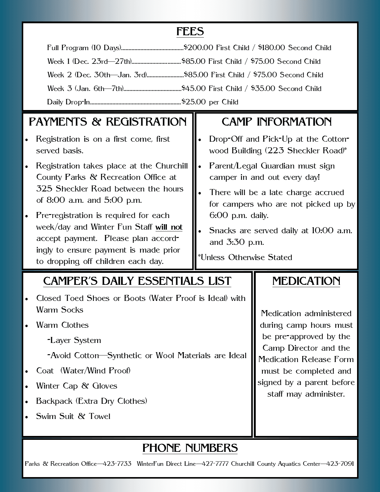 WinterFun (2019-2020) - Information Sheet