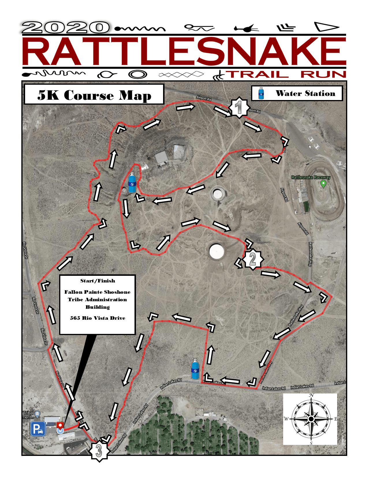 Rattlesnake Trail Run (2020) - 5K Course Map