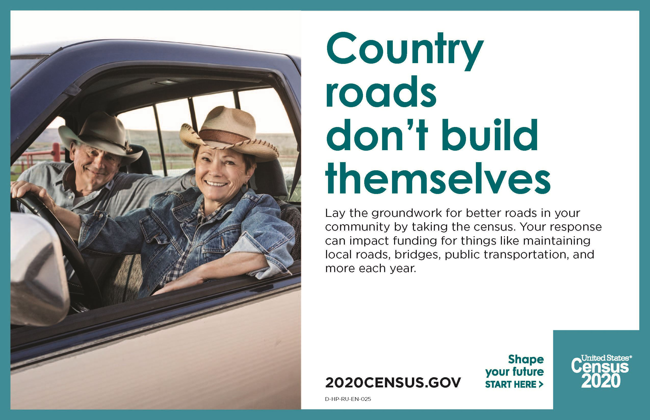 "Couple in a truck with the words 'County roads don't build themselves"". 2020census.gov"