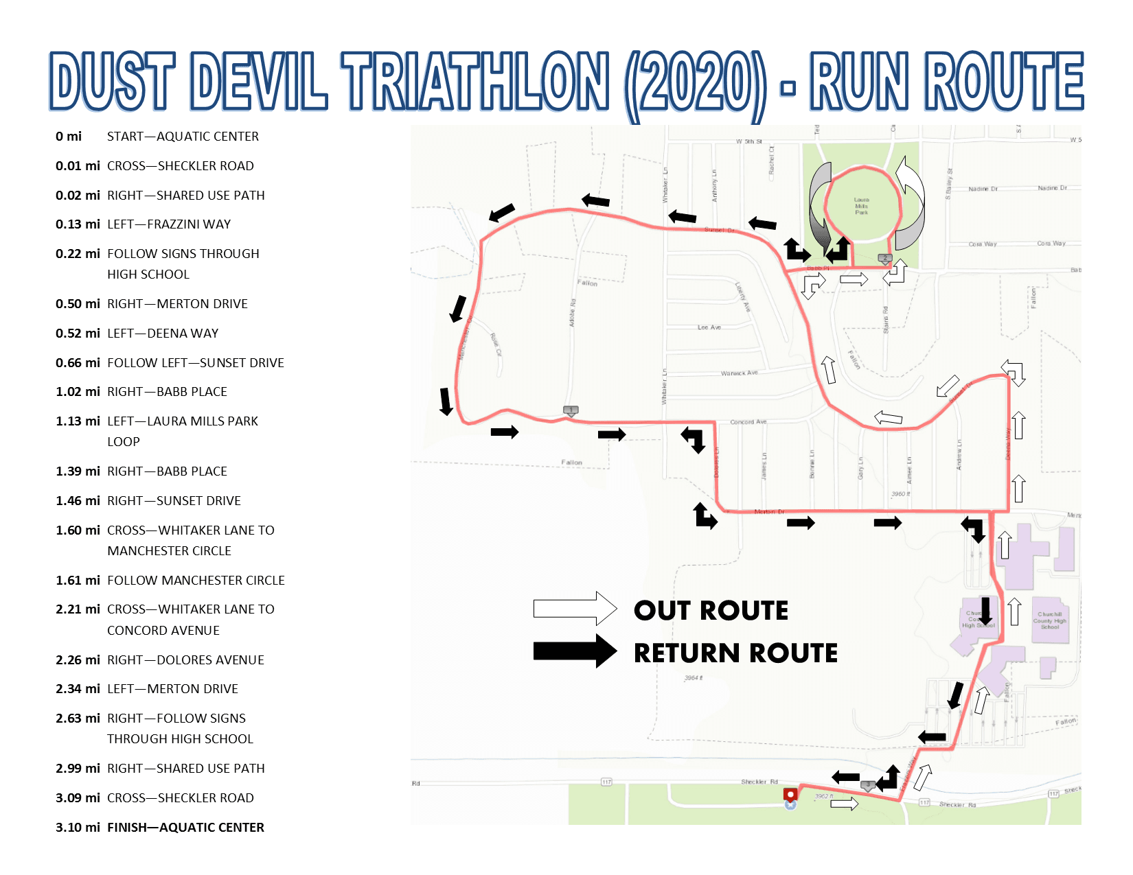 Dust Devil Triathlon (2020) - Run Route Course Map